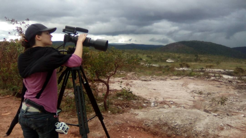 Amanda Perez filming a mine in the Gran Sabana for A Family of Stories
