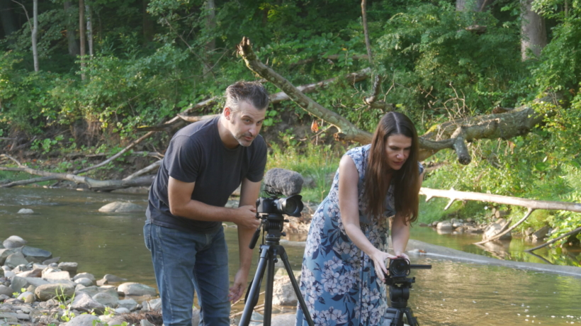 Nathaniel Bowler and Alexandra Hidalgo setting up the cameras while filming A Family of Stories